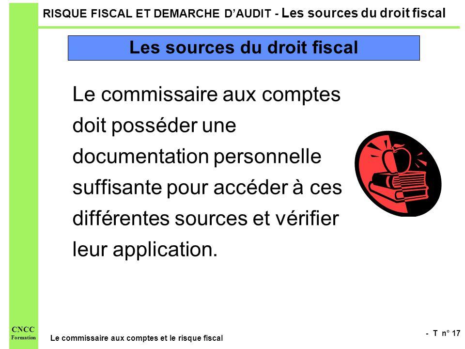 - T n° 17 Le commissaire aux comptes et le risque fiscal CNCC Formation RISQUE FISCAL ET DEMARCHE DAUDIT - Les sources du droit fiscal Le commissaire