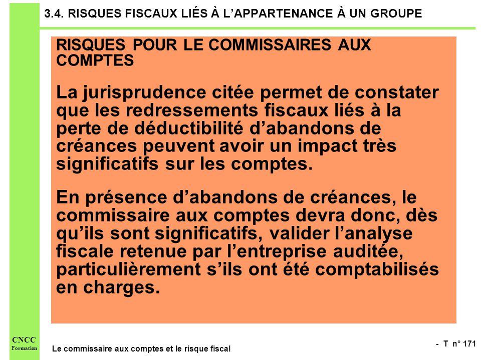 - T n° 171 Le commissaire aux comptes et le risque fiscal CNCC Formation 3.4. RISQUES FISCAUX LIÉS À LAPPARTENANCE À UN GROUPE RISQUES POUR LE COMMISS