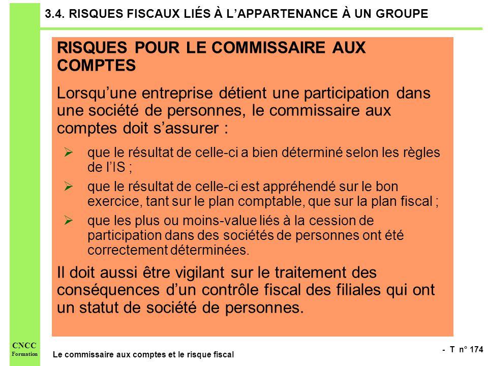 - T n° 174 Le commissaire aux comptes et le risque fiscal CNCC Formation 3.4. RISQUES FISCAUX LIÉS À LAPPARTENANCE À UN GROUPE RISQUES POUR LE COMMISS