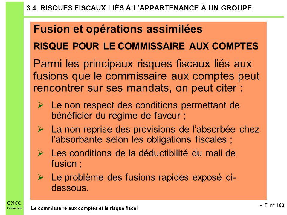 - T n° 183 Le commissaire aux comptes et le risque fiscal CNCC Formation 3.4. RISQUES FISCAUX LIÉS À LAPPARTENANCE À UN GROUPE Fusion et opérations as