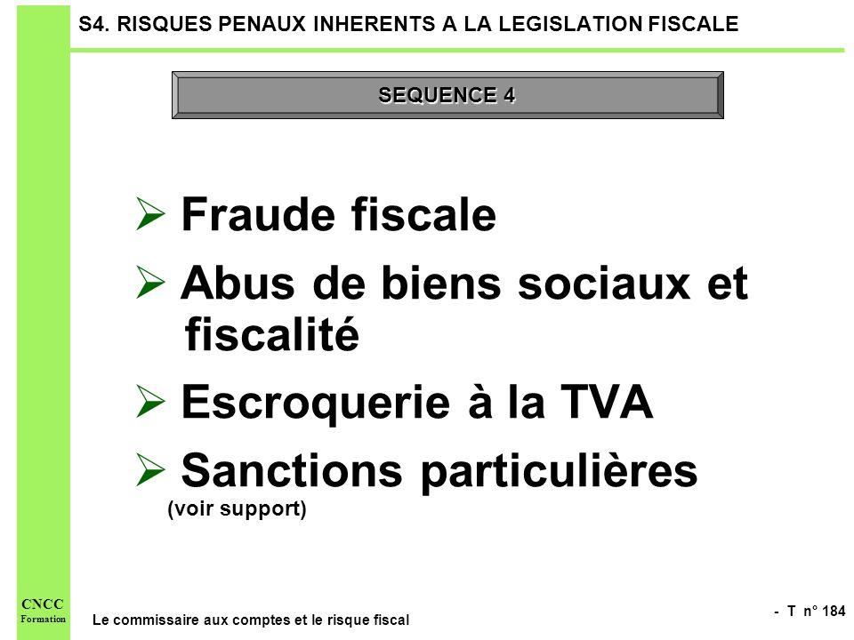 - T n° 184 Le commissaire aux comptes et le risque fiscal CNCC Formation S4. RISQUES PENAUX INHERENTS A LA LEGISLATION FISCALE Fraude fiscale Abus de