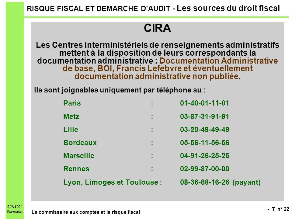 - T n° 22 Le commissaire aux comptes et le risque fiscal CNCC Formation RISQUE FISCAL ET DEMARCHE DAUDIT - Les sources du droit fiscal CIRA Les Centre