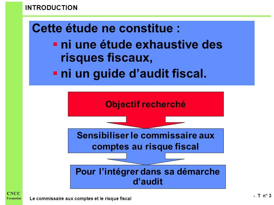 - T n° 4 Le commissaire aux comptes et le risque fiscal CNCC Formation INTRODUCTION « Si le commissaire aux comptes dans lexercice de sa mission, neffectue pas à proprement parler un audit fiscal, il nempêche quil ne peut évidemment pas se désintéresser des incidences de la fiscalité sur la régularité et la sincérité des comptes annuels.
