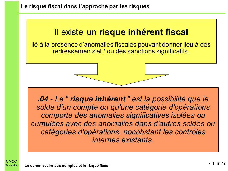 - T n° 47 Le commissaire aux comptes et le risque fiscal CNCC Formation Le risque fiscal dans lapproche par les risques Il existe un risque inhérent f