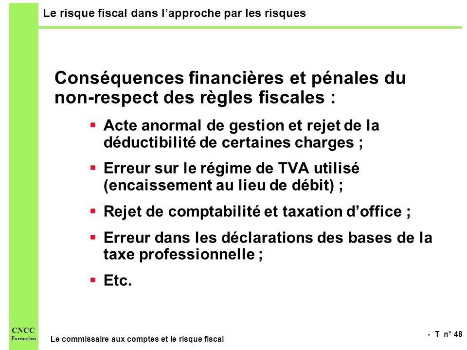- T n° 48 Le commissaire aux comptes et le risque fiscal CNCC Formation Le risque fiscal dans lapproche par les risques Conséquences financières et pé