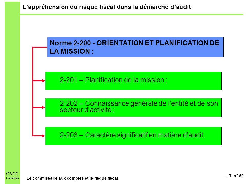 - T n° 50 Le commissaire aux comptes et le risque fiscal CNCC Formation Lappréhension du risque fiscal dans la démarche daudit Norme 2-200 - ORIENTATI