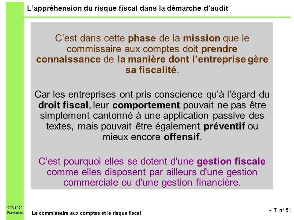 - T n° 51 Le commissaire aux comptes et le risque fiscal CNCC Formation Lappréhension du risque fiscal dans la démarche daudit Cest dans cette phase d
