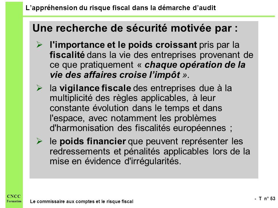 - T n° 53 Le commissaire aux comptes et le risque fiscal CNCC Formation Lappréhension du risque fiscal dans la démarche daudit Une recherche de sécuri