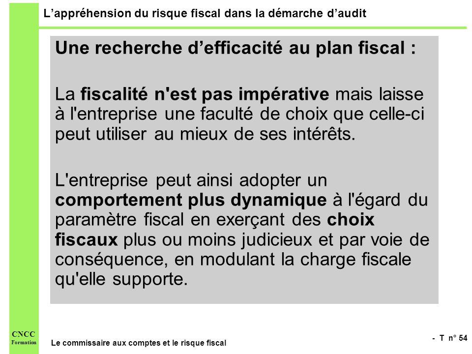 - T n° 54 Le commissaire aux comptes et le risque fiscal CNCC Formation Lappréhension du risque fiscal dans la démarche daudit Une recherche defficaci