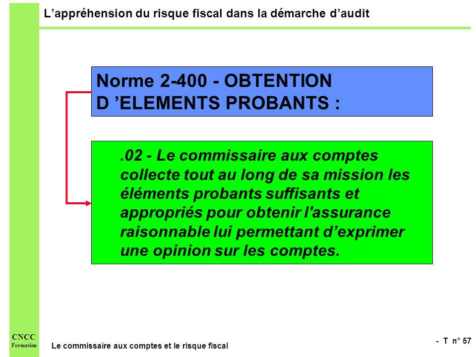 - T n° 57 Le commissaire aux comptes et le risque fiscal CNCC Formation Lappréhension du risque fiscal dans la démarche daudit Norme 2-400 - OBTENTION