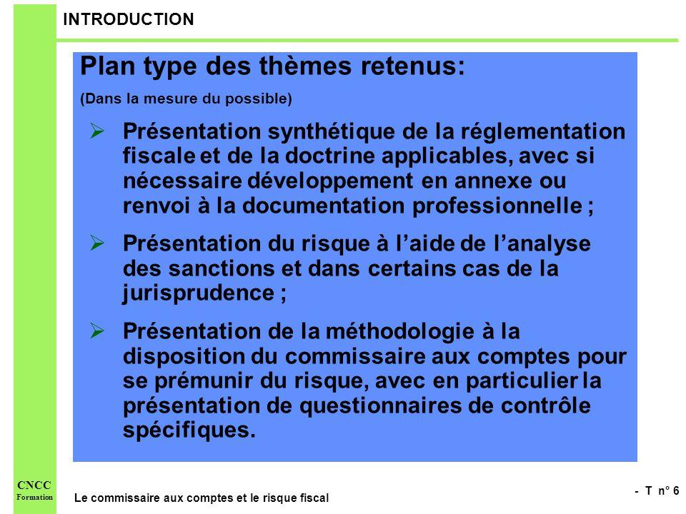 - T n° 6 Le commissaire aux comptes et le risque fiscal CNCC Formation INTRODUCTION Plan type des thèmes retenus: (Dans la mesure du possible) Présent