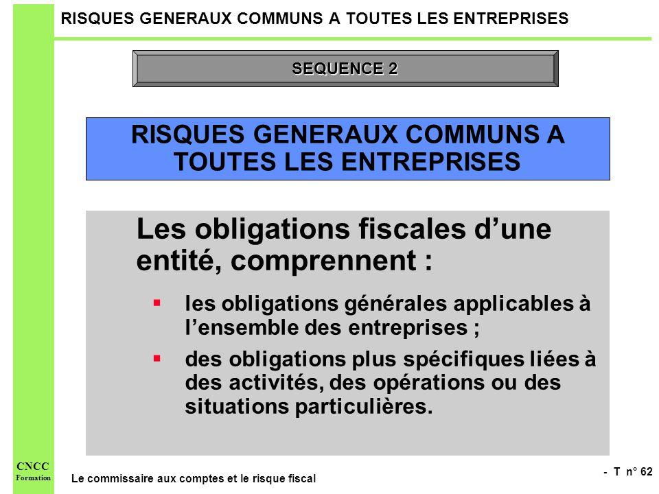 - T n° 62 Le commissaire aux comptes et le risque fiscal CNCC Formation RISQUES GENERAUX COMMUNS A TOUTES LES ENTREPRISES Les obligations fiscales dun