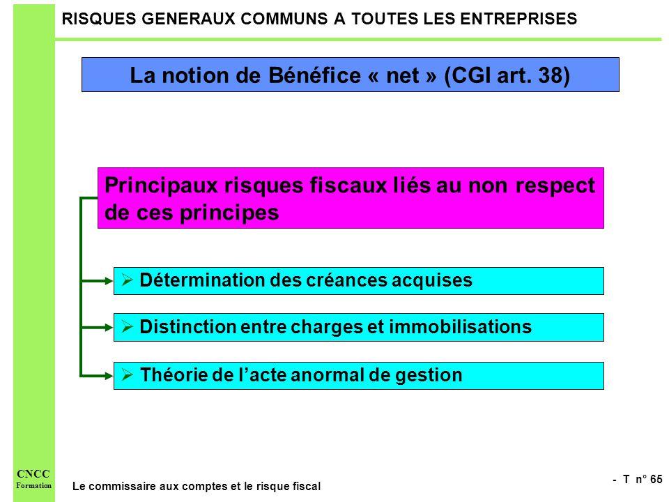 - T n° 65 Le commissaire aux comptes et le risque fiscal CNCC Formation RISQUES GENERAUX COMMUNS A TOUTES LES ENTREPRISES La notion de Bénéfice « net
