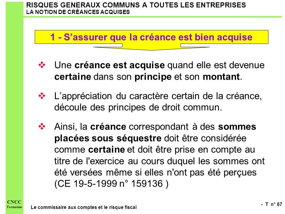 - T n° 67 Le commissaire aux comptes et le risque fiscal CNCC Formation RISQUES GENERAUX COMMUNS A TOUTES LES ENTREPRISES LA NOTION DE CRÉANCES ACQUIS