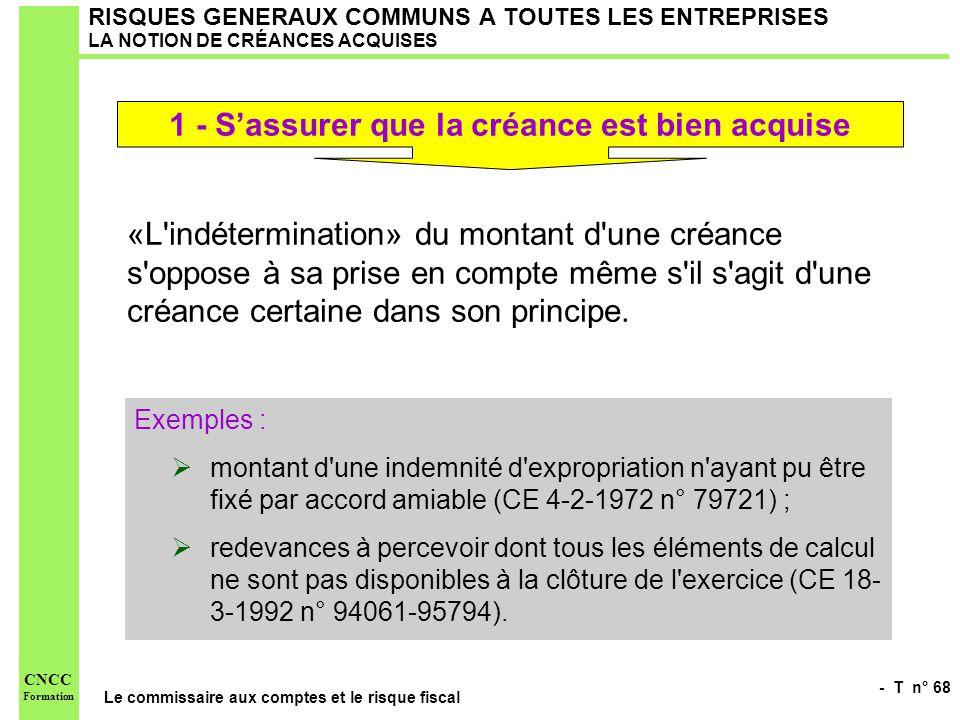 - T n° 68 Le commissaire aux comptes et le risque fiscal CNCC Formation RISQUES GENERAUX COMMUNS A TOUTES LES ENTREPRISES LA NOTION DE CRÉANCES ACQUIS