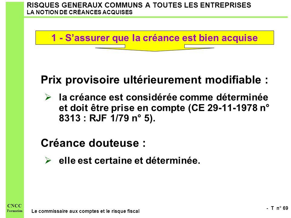 - T n° 69 Le commissaire aux comptes et le risque fiscal CNCC Formation RISQUES GENERAUX COMMUNS A TOUTES LES ENTREPRISES LA NOTION DE CRÉANCES ACQUIS
