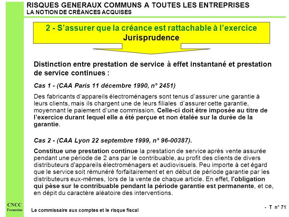 - T n° 71 Le commissaire aux comptes et le risque fiscal CNCC Formation RISQUES GENERAUX COMMUNS A TOUTES LES ENTREPRISES LA NOTION DE CRÉANCES ACQUIS