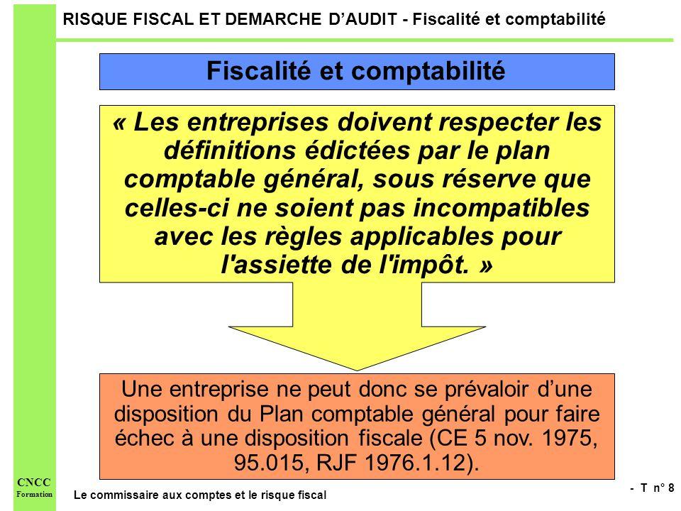 - T n° 8 Le commissaire aux comptes et le risque fiscal CNCC Formation RISQUE FISCAL ET DEMARCHE DAUDIT - Fiscalité et comptabilité « Les entreprises