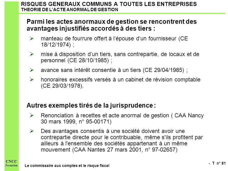 - T n° 81 Le commissaire aux comptes et le risque fiscal CNCC Formation RISQUES GENERAUX COMMUNS A TOUTES LES ENTREPRISES THEORIE DE LACTE ANORMAL DE