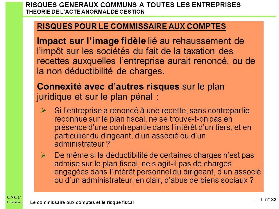 - T n° 82 Le commissaire aux comptes et le risque fiscal CNCC Formation RISQUES GENERAUX COMMUNS A TOUTES LES ENTREPRISES THEORIE DE LACTE ANORMAL DE