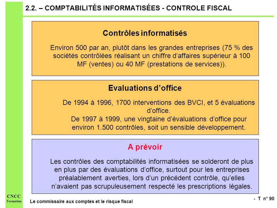 - T n° 90 Le commissaire aux comptes et le risque fiscal CNCC Formation 2.2. – COMPTABILITÉS INFORMATISÉES - CONTROLE FISCAL Contrôles informatisés En