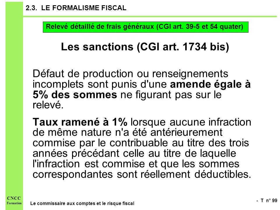 - T n° 99 Le commissaire aux comptes et le risque fiscal CNCC Formation 2.3. LE FORMALISME FISCAL Les sanctions (CGI art. 1734 bis) Défaut de producti