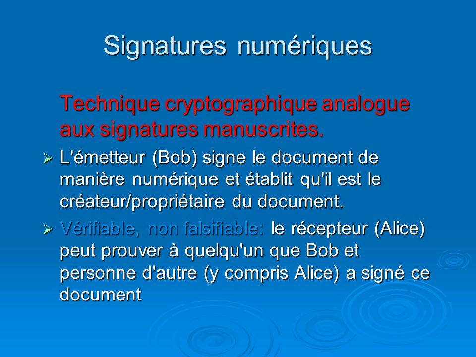 Signatures numériques Technique cryptographique analogue aux signatures manuscrites. L'émetteur (Bob) signe le document de manière numérique et établi