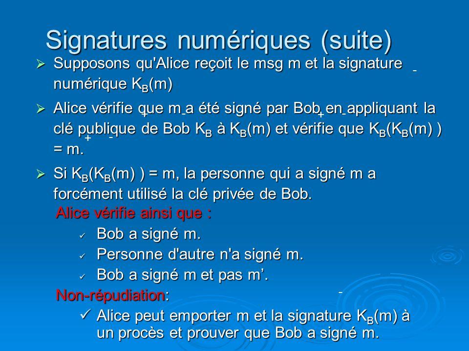 Signatures numériques (suite) Supposons qu'Alice reçoit le msg m et la signature numérique K B (m) Supposons qu'Alice reçoit le msg m et la signature