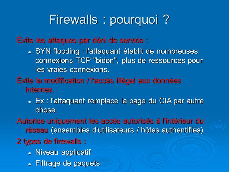 Firewalls : pourquoi ? Évite les attaques par déni de service : SYN flooding : l'attaquant établit de nombreuses connexions TCP