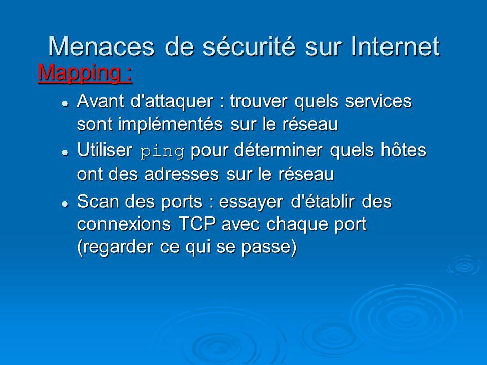Menaces de sécurité sur Internet Mapping : Avant d'attaquer : trouver quels services sont implémentés sur le réseau Avant d'attaquer : trouver quels s