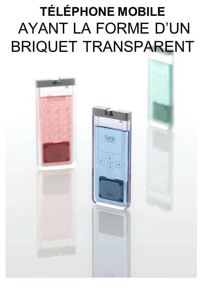 TÉLÉPHONE MOBILE AYANT LA FORME DUN BRIQUET TRANSPARENT