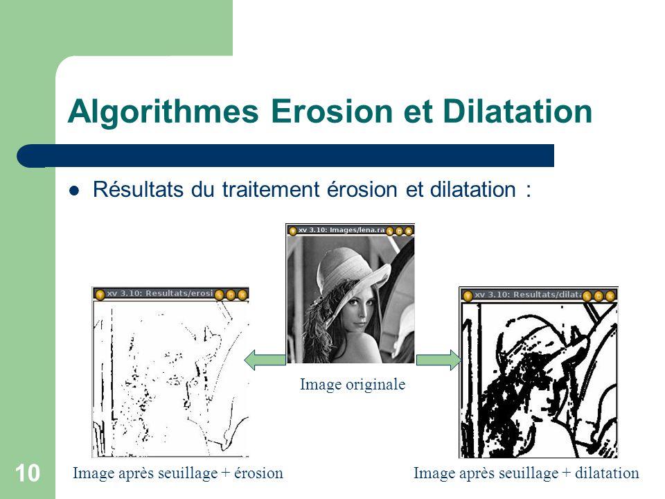 10 Algorithmes Erosion et Dilatation Résultats du traitement érosion et dilatation : Image originale Image après seuillage + érosionImage après seuill