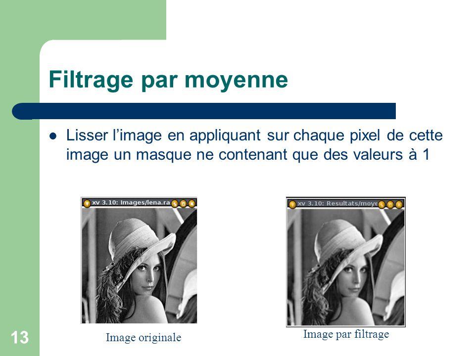 13 Filtrage par moyenne Lisser limage en appliquant sur chaque pixel de cette image un masque ne contenant que des valeurs à 1 Image originale Image p