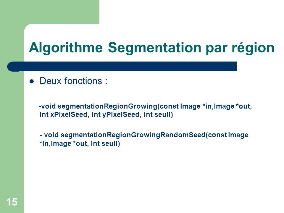15 Algorithme Segmentation par région Deux fonctions : -void segmentationRegionGrowing(const Image *in,Image *out, int xPixelSeed, int yPixelSeed, int