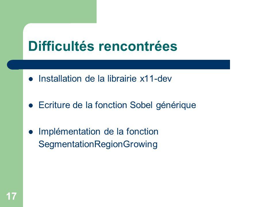 17 Difficultés rencontrées Installation de la librairie x11-dev Ecriture de la fonction Sobel générique Implémentation de la fonction SegmentationRegi