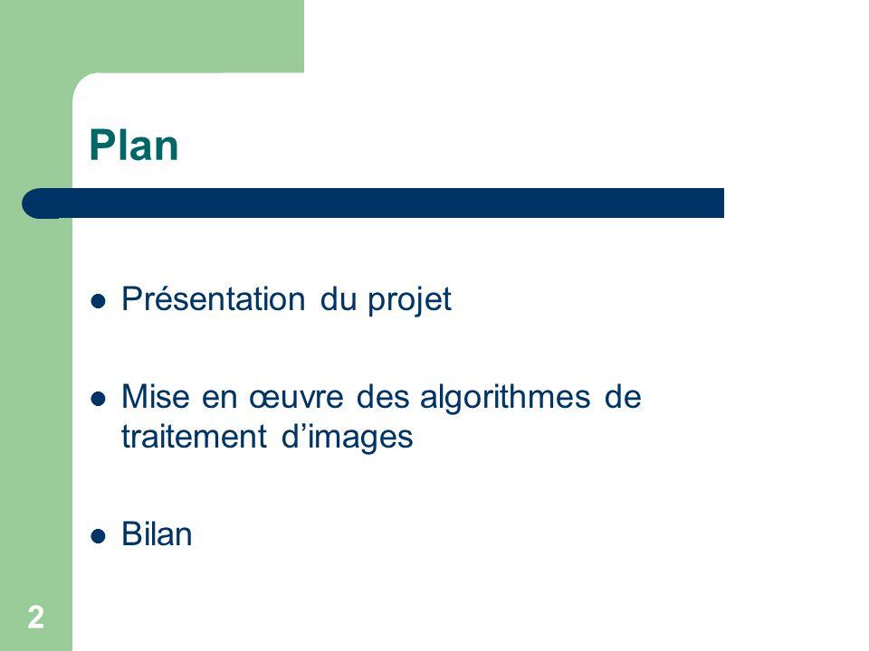 2 Plan Présentation du projet Mise en œuvre des algorithmes de traitement dimages Bilan