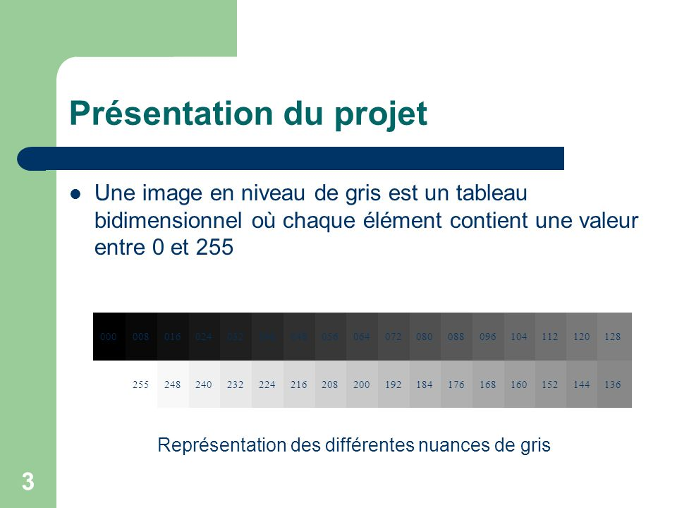 3 Présentation du projet Une image en niveau de gris est un tableau bidimensionnel où chaque élément contient une valeur entre 0 et 255 00000801602403