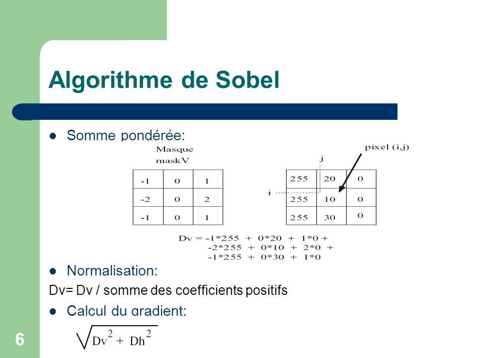 7 Algorithme de Sobel Deux fonctions Sobel : – void basicThreeSobelFunction(const Image * in, Image * out) – void genericSobelFunction(const Image * in, Image * out, int ** maskV, int ** maskH, int maskSize)