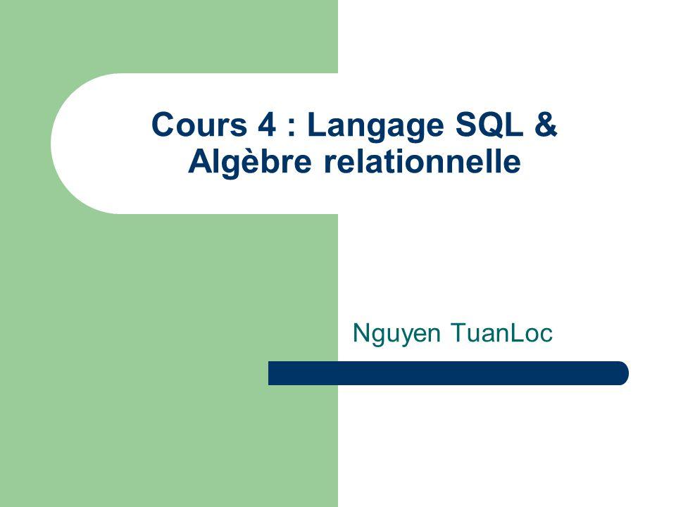 Cours 4 : Langage SQL & Algèbre relationnelle Nguyen TuanLoc