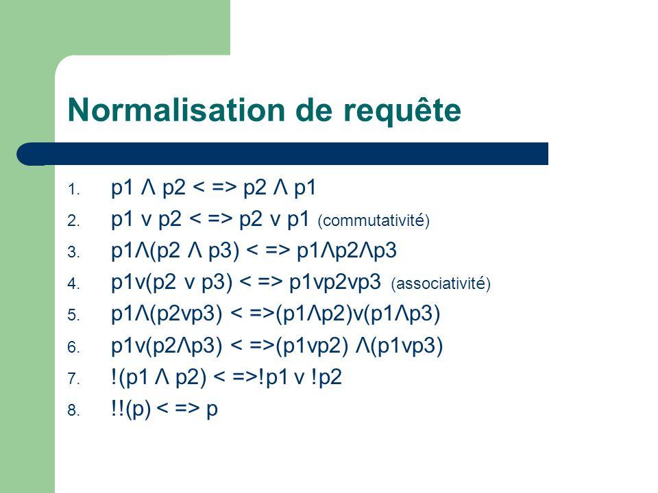 Normalisation de requête 1. p1 Λ p2 p2 Λ p1 2. p1 v p2 p2 v p1 (commutativit é ) 3. p1Λ(p2 Λ p3) p1Λp2Λp3 4. p1v(p2 v p3) p1vp2vp3 (associativit é ) 5