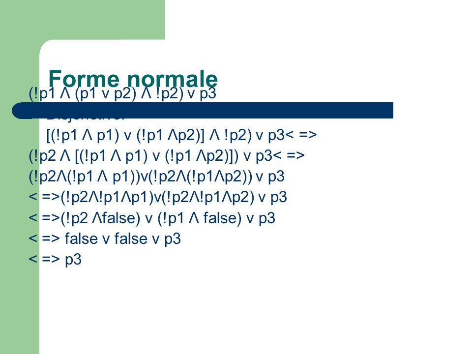 Forme normale (!p1 Λ (p1 v p2) Λ !p2) v p3 Disjonctive: [(!p1 Λ p1) v (!p1 Λp2)] Λ !p2) v p3 (!p2 Λ [(!p1 Λ p1) v (!p1 Λp2)]) v p3 (!p2Λ(!p1 Λ p1))v(!