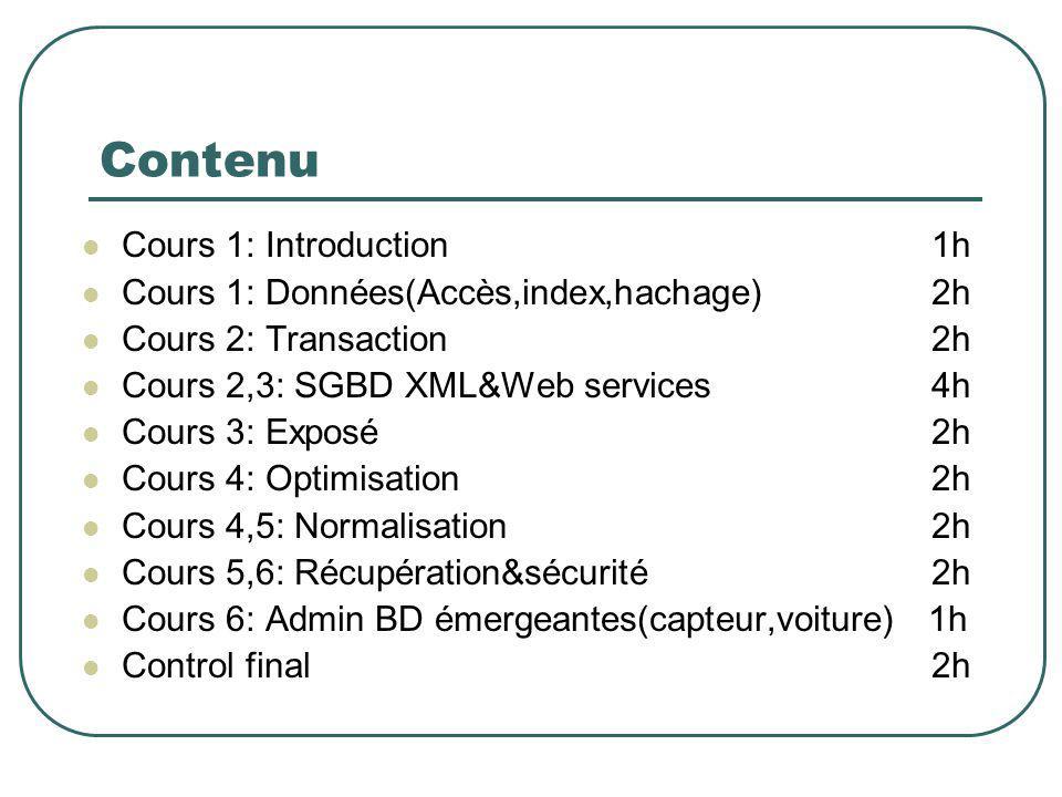 Contenu Cours 1: Introduction 1h Cours 1: Données(Accès,index,hachage) 2h Cours 2: Transaction 2h Cours 2,3: SGBD XML&Web services 4h Cours 3: Exposé2
