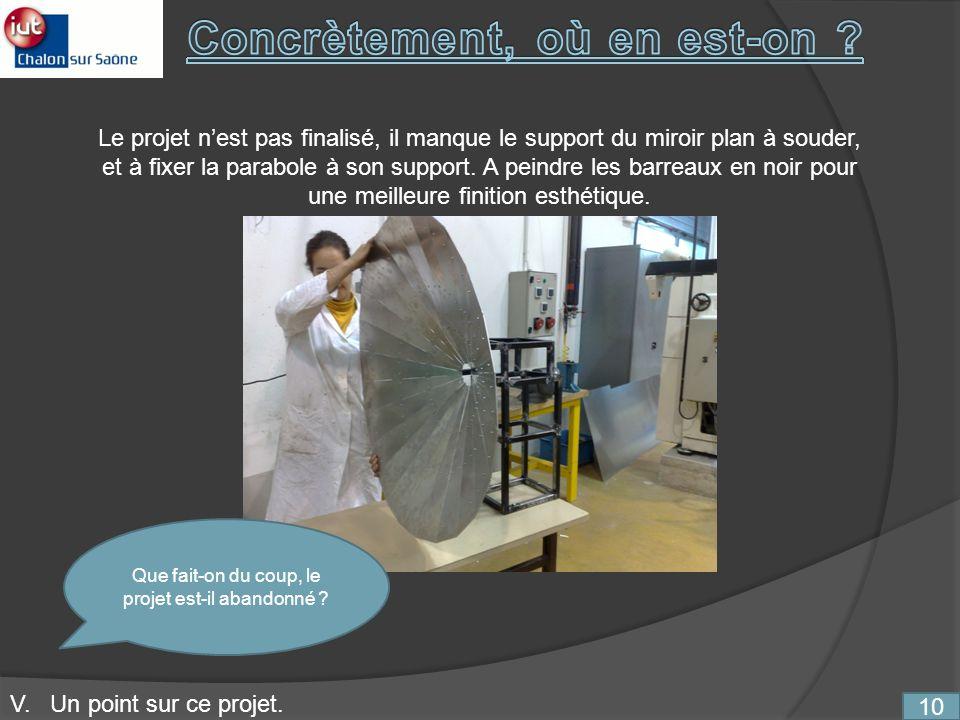 10 V. Un point sur ce projet. Le projet nest pas finalisé, il manque le support du miroir plan à souder, et à fixer la parabole à son support. A peind