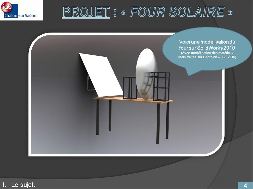 4 Voici une modélisation du four sur SolidWorks 2010 (Avec modélisation des matériaux réels traités sur PhotoView 360 2010) I. Le sujet.