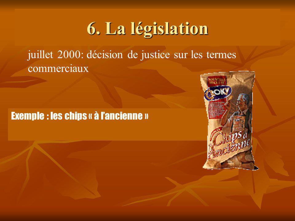 6. La législation Exemple : les chips « à lancienne » juillet 2000: décision de justice sur les termes commerciaux