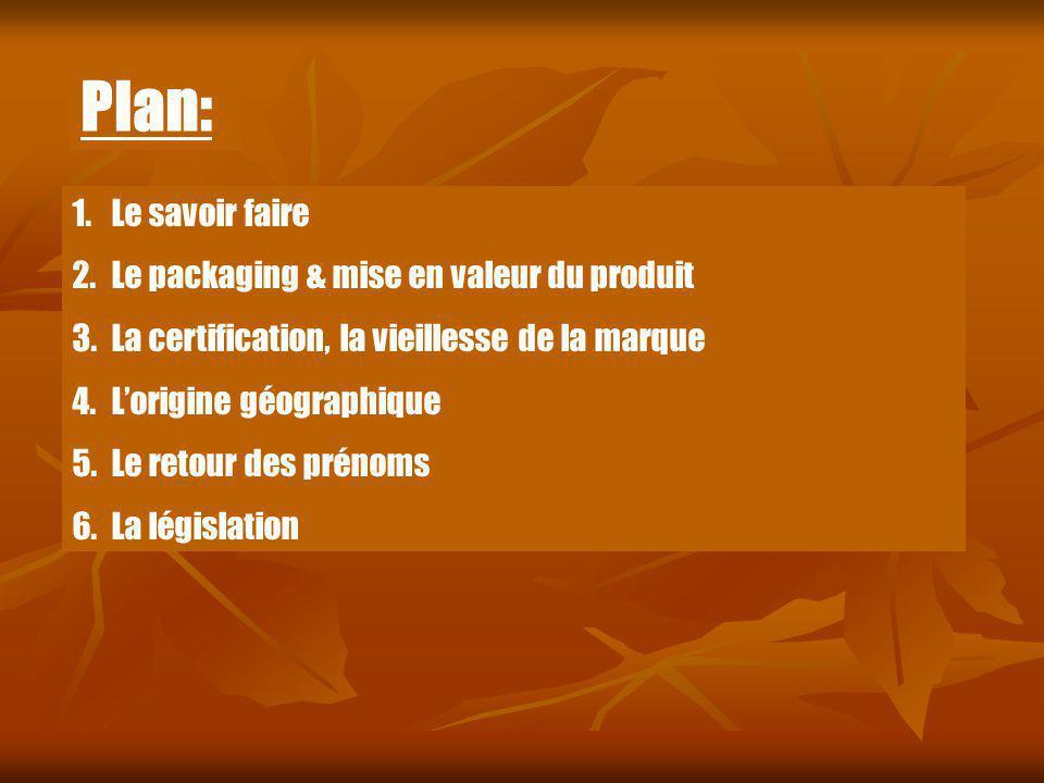 1.Le savoir faire 2.Le packaging & mise en valeur du produit 3.La certification, la vieillesse de la marque 4.Lorigine géographique 5.Le retour des pr