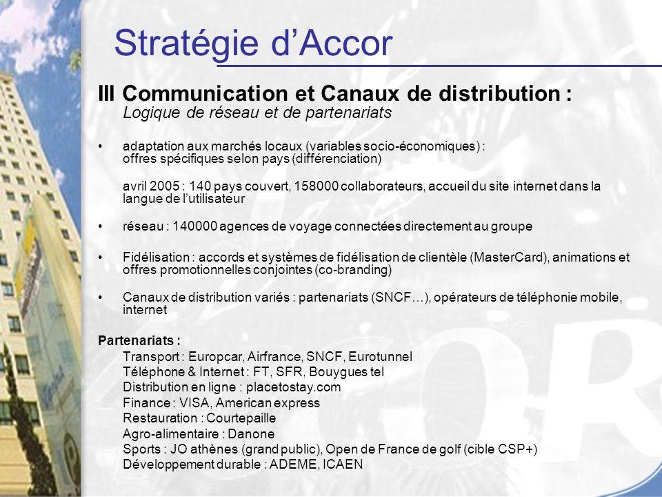 III Communication et Canaux de distribution : Logique de réseau et de partenariats adaptation aux marchés locaux (variables socio-économiques) : offre