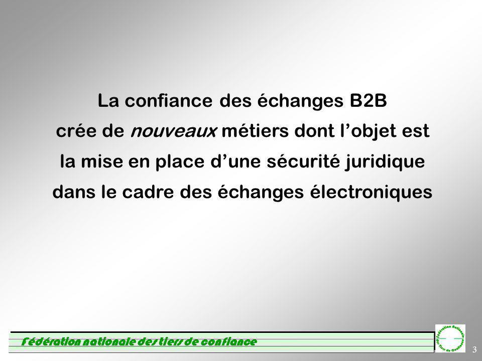 Fédération nationale des tiers de confiance 3 La confiance des échanges B2B crée de nouveaux métiers dont lobjet est la mise en place dune sécurité juridique dans le cadre des échanges électroniques
