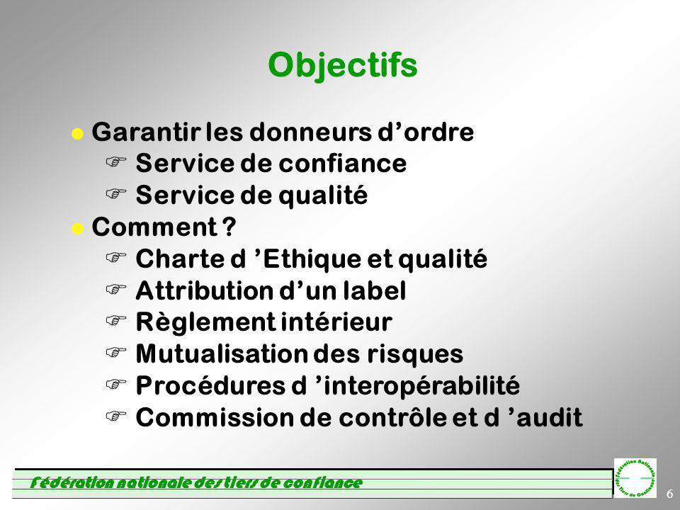 Fédération nationale des tiers de confiance 6 Objectifs Garantir les donneurs dordre Service de confiance Service de qualité Comment ? Charte d Ethiqu