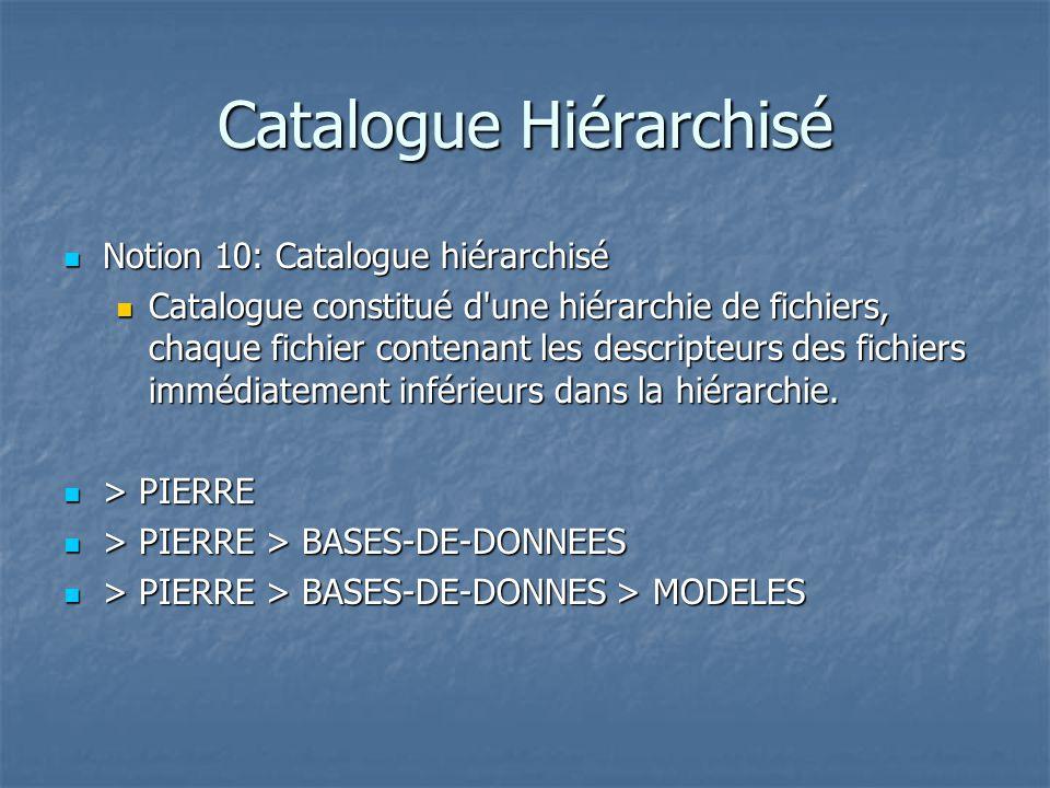 Catalogue Hiérarchisé Notion 10: Catalogue hiérarchisé Notion 10: Catalogue hiérarchisé Catalogue constitué d une hiérarchie de fichiers, chaque fichier contenant les descripteurs des fichiers immédiatement inférieurs dans la hiérarchie.